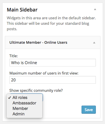 You can choose to show all user roles in widget or only one specific role