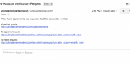 The User Verification Admin Notification Email