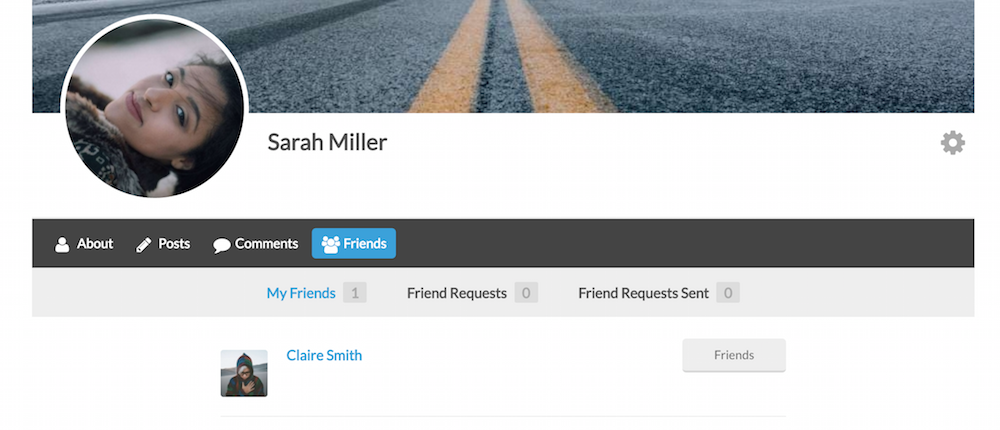 Users can see a list of their friends from their profile